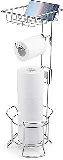 AmazerBath Toilet Paper Holder Stand Bathroom Tissue Dispenser Reserve Free Standing with Top Shelf Storage for Phone/Wipe...