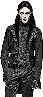 Punk Rave Mens Waistcoat Vest Tailcoat Black Damask Gothic Steampunk Regency