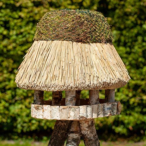 VOSS.garden Ovales XL Vogelvilla Pellworm mit Reetdach, Naturbelassene Birke 37x52cm große Futterplatte, Vogelhaus Futterstation Vogelhäuschen Futterhaus