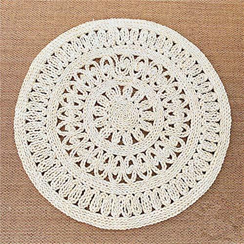 Nicole Knupfer Teppich, Strohteppich Maisstrohteppich Naturteppich, geflochten, rund (Durchmesser 90cm)
