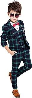 Boy 4 Pieces Plaid Formal Suit Set,Vest+Pants+Blazer+Bow Tie