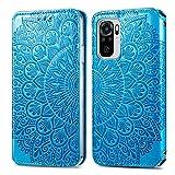 Fertuo Funda para Redmi Note 10 4G, Mandala Carcasa Libro con Tapa de Cuero Piel Flip Case Cover con Ranuras de Tarjeta, Cierre Magnético para Xiaomi Redmi Note 10 4G / Note 10S, Azul