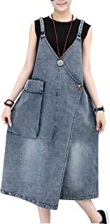 Women's Maxi Length Long Denim Jeans Jumpers Overall Pinafore Dress Skirt