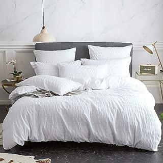 Merryfeel Seersucker Duvet Cover Set,100% Cotton Woven Seersucker Stripe Bedding Set (1 Duvet Cover with 2 Pillowshams)-King White