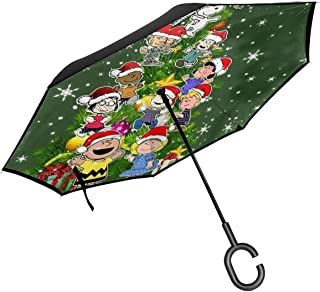 Inverted Umbrellas Charlie Brown Tree Reverse Folding Umbrella Windproof UV Protection Big Straight Umbrella For Car Rain Outdoor With C-Shaped Handle