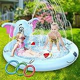 AOLUXLM Piscina para NiñOs,170cm Splash Pad,Actividades Juegos Aire Libre Familiares/Playa/JardíN Juego De Verano,Piscina para NiñOs(con 3 Anillos Inflables)