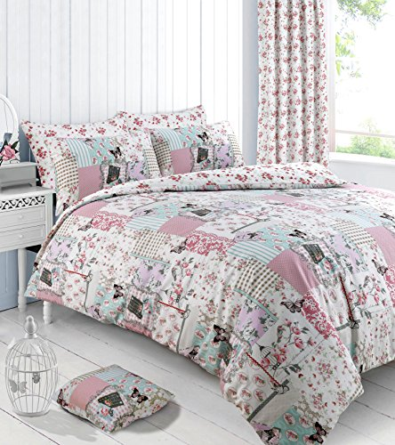Velosso Reversible Shabby Chic Vintage Birds Boutique Duvet/Quilt Cover Multi Printed Bedding Set (King)