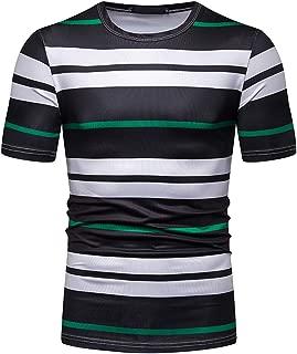WHATLEES Men's Short Sleeve Crew Neck Stripe T-Shirt