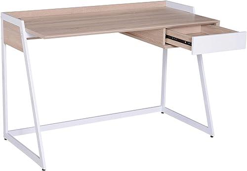 Homcom Bureau Informatique secrétaire Design Contemporain 120L x 60l x 80H cm Acier MDF BiCouleure Bois de chêne Clair Blanc