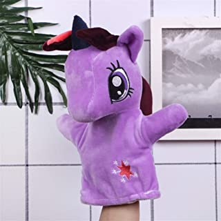 The New Cartoon Hand Puppet Plush Toy Doll Early Childhood Parent-Child Interaction Doll Creative Pony Doll Creative Baby Safety Blanket, Soft Soothing Towel, (Color : Purple, Size : 27cm)