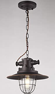 SHUPREGU,One-Light LED Pendant Lighting for Kitchen Island, Oil Rubbed Bronze Finish with Highlights, LED Bulb Included, D11.81XH62.2