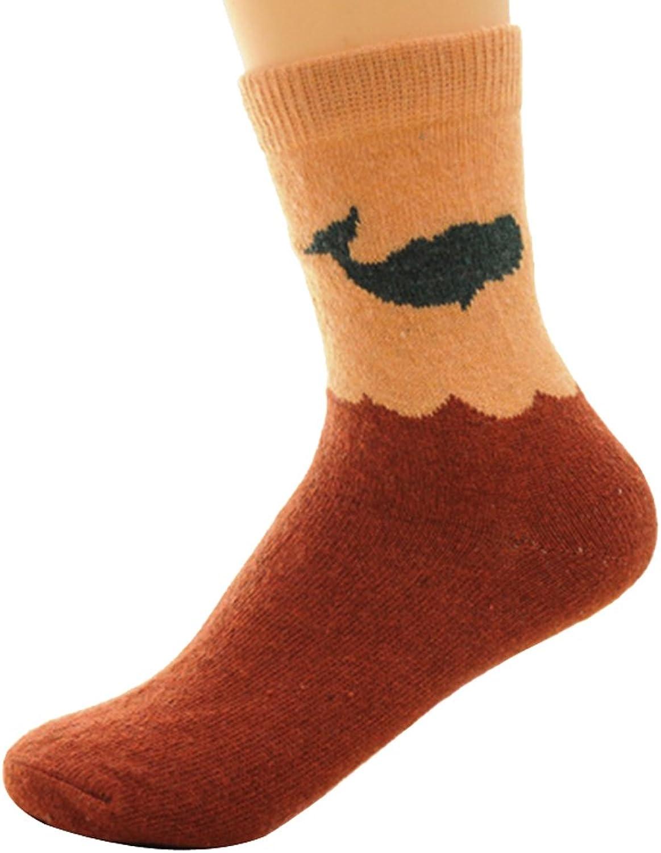 5 pairs cute dolphins pattern weave rabbit sheep fur socks