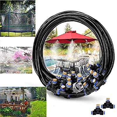 """RUITN Misting Cooling System 60ft Misting Line 25 Brass Mist Nozzles Brass Adapter(3/4"""") Outdoor Misters for Patio Garden Greenhouse Trampoline waterpark"""