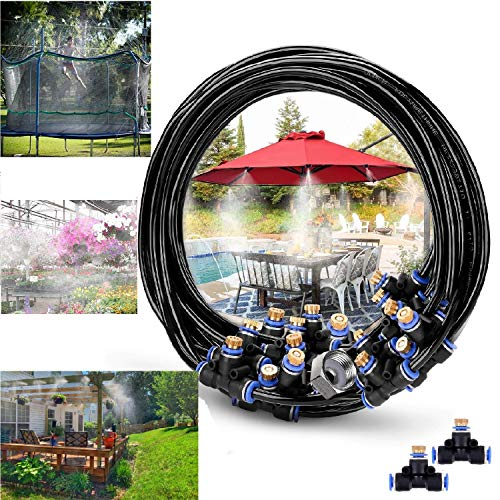 """RUITN Misting Cooling System 76ft Misting Line 33 Brass Mist Nozzles Brass Adapter(3/4"""") Outdoor Misters for Patio Garden Greenhouse Trampoline waterpark"""