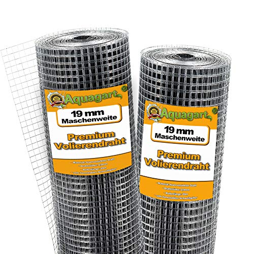 Aquagart® Volierendraht 40m x 1m, Drahtgitter Hasendraht Maschenweite 19mm, verzinkter Maschendraht-Zaun, robustes Schweißgitter
