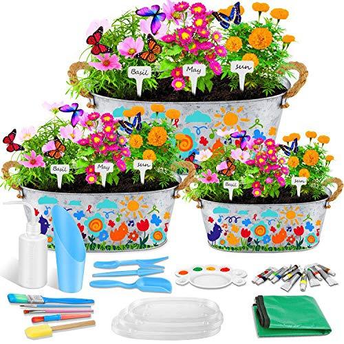 Vasi per piante da fiore zincati, 3 confezioni Wisolt Vaso per fioriera in latta ovale in metallo rustico con manici e accessori abbondanti, grande fioriera con secchio in metallo per giardino (ovale)