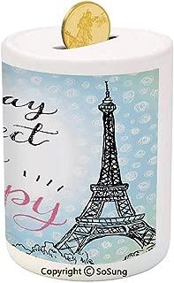 Eiffel Tower Decor Ceramic Piggy Bank,Perfect Day Eiffel Tower Polka Dot Handwriting Typography Sketch Print Paris Decor 3D Printed Ceramic Coin Bank Money Box for Kids & Adults,Blue Black