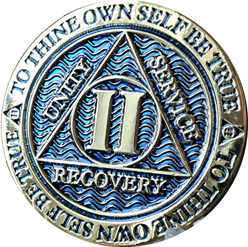 RecoveryChip 2 Year AA Medallion Dusty Blue Color Gold Plated Chip II