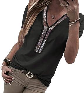 MK988 Women V-Neck Large Size Solid Patchwork Short Sleeve Sequin Top Blouse T-Shirt