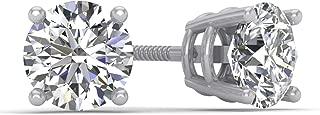 1.00ct tw IGI Certified 14K White Gold Round Diamond Stud Earrings with Screw-Backs (G-H, I2-I3)
