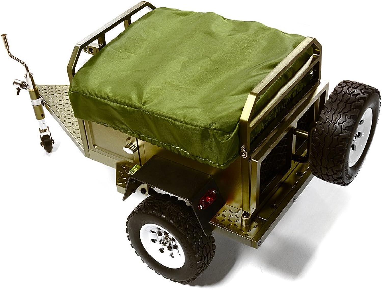Integy RC Model Hop-ups C27994GUN Alloy Realistic Model Camping Trailer w Roof Top Tent for 1 10 RC 390x195x175mm