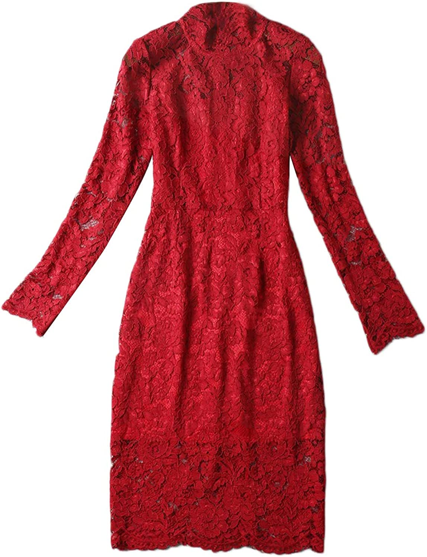 Lace Print Dresses Vintage Stretchy Tie Waist Girls Long Sleeve Dress