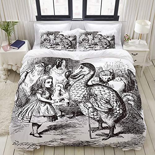 Popsastaresa Set Biancheria da Letto,Microfibra,Alice nel Paese delle Meraviglie con Dodo Animal Adventures Big Bird Sketch Bambini Tema,1 Copripiumino 200x200 + 2 federe