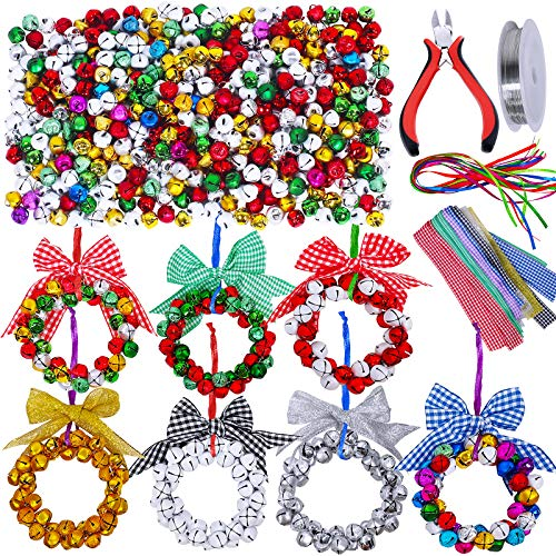 14 Sets Christmas Jingle Bell Wreath Christmas Tree Ornaments Craft Kit Jingle Bells Ribbons Bows Assortment for Kids Holiday Christmas Winter Bracelets Necklaces Artwork
