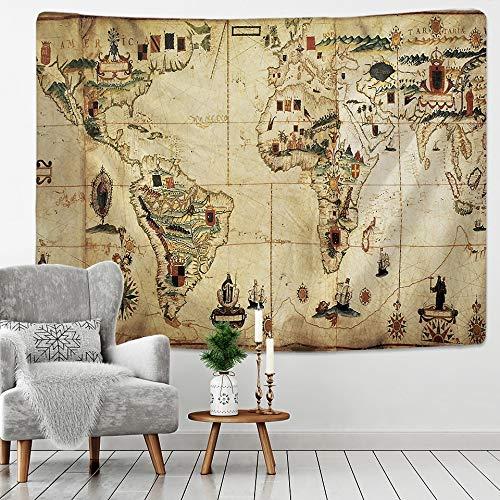 KHKJ Mapa del Tesoro Pirata Tapiz Colgante de Pared Manta de Playa Bohemia Manta de mantón de Yoga Manta A3 95x73cm