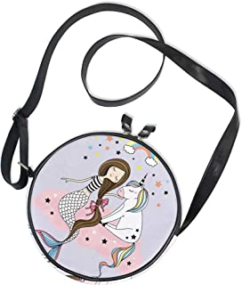 Ahomy Damen-Umhängetasche, rund, Einhorn und Meerjungfrau, sitzt auf der Wolke, Handy, Mini-Kuriertasche