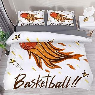 Moily Fayshow Basketball Fire California 3 Piezas Juegos de Cama Impresos Juego de Funda nórdica de Colcha de Cama con 1 Funda nórdica y 2 Fundas de Almohada Fundas