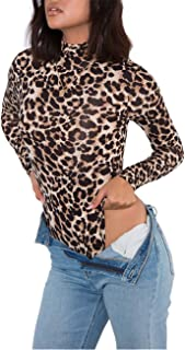 Women's Basic Solid Bodysuit Turtleneck Leotard Top Long Sleeve Bodycon Jumpsuit Stretchy Romper