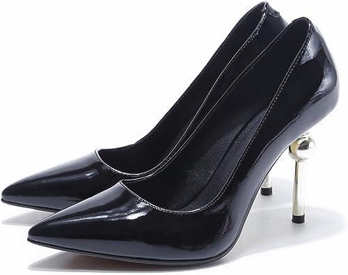 YTTY Chaussures à Pointes Pointues Féminines Haut avec Boite Fine Boîte Noire Couleur Noire Peinture Bouche Peu Profonde Noir 38