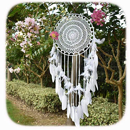 """Aglife Large White Boho Dream Catcher with White Feather Hanging Wedding Decoration Ornament Gilf, Circle 13.8"""",36.2"""" Long"""