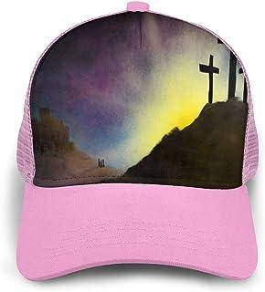 Vintage Easter Morning Retro Cross Trucker Cap Hats Summer Snapback Mesh Hat for Women Men Youth Teen