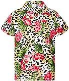 KING KAMEHA Camisa hawaiana para hombre Funky Casual botón Down muy fuerte manga corta unisex leopardo flores, Flores Leopardo Beige Natural, 4X-Large