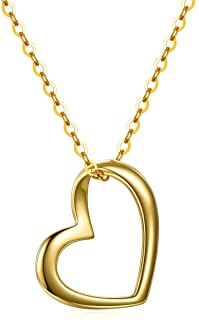 Solid 14k Gold Heart Necklace for Women, Fine Gold Love Jewelry for Wife/Mom/Gir