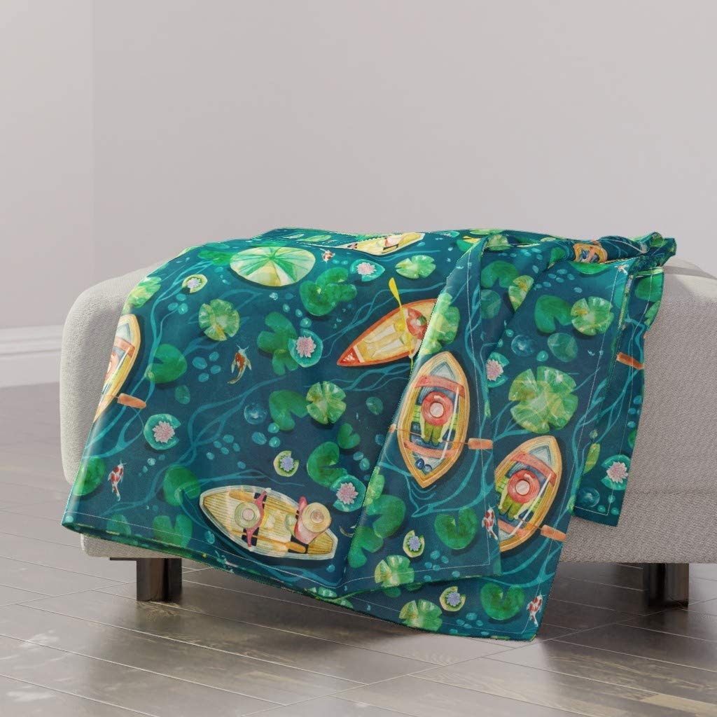 Product Roostery Spoonflower Throw Blanket Ranking TOP14 Day Boats Summer Lake Nature