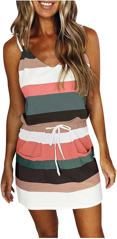 Masbird Women Summer Dress for Women 2021, Womens Casual V Neck Sleeveless Dress Drawstring Mini Bodycon Workout Dress