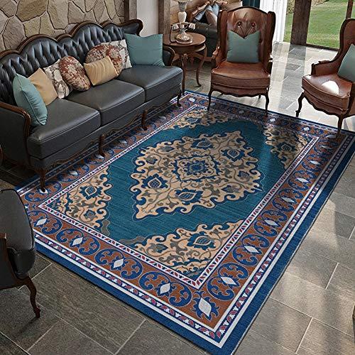 QUD Kashan Sammlung Boho Teppich Mädchen Schlafzimmer Decke Wohnzimmer Teppiche Bohemian Gebiet Mat Tex Mex Anti-Rutsch-weichen Teppich Blau 6/18 (Size : 50x80cm)