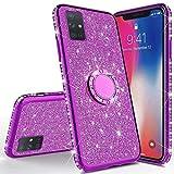 JAWSEU Glitter Bling Shiny Coque en silicone pour Galaxy A71 Violet à paillettes