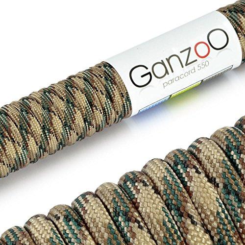 Paracord 550 Corda, 31 m, per Guinzaglio per Cani, Colore: Beige, Verde