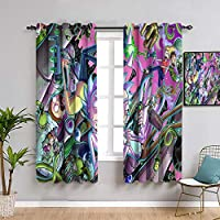 Elliot Dorothy Rick and Morty - Cortinas opacas para ventana de dormitorio infantil (63 x 183 cm)