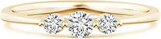 April Birthstone-Lab Grown Diamond Three Stone Promise Ring in 14k Solid Gold (0.25 ctw, H Color & SI2 Clarity)