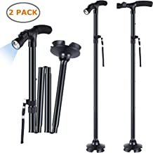 2-Pack LED Folding Walking Cane, Ohuhu Folding Walking Cane with LED Light, Adjustable Walking Stick with Carrying Bag for Fathers Mothers Gifts