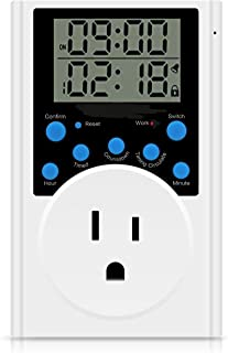 Timer Outlet, Multifunctional Infinite Cycle Programmable Plug-in Digital Timer Switchor for Appliances,Overload Protection,light timer 15A/1800W