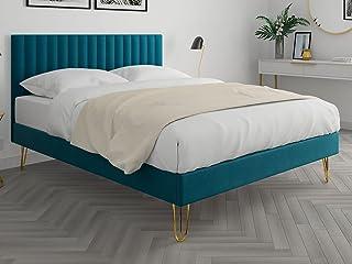 HOMIFAB Lit Adulte scandinave 140x190cm en Velours Bleu Canard avec tête de lit matelassée et sommier à Lattes - Collectio...