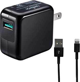 UrbanX 18W Quick Charge 3.0 USB Power Adapter Compatible with iPad Pro Air iPhone Xs Max XR X 8 Plus, Galaxy S9 S8 S9 Plus Note 9 Huawei P20 Moto Z3 Z2 (Black, with 3 Foot iPhone/iPad Cable)