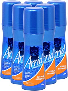 Arrid Extra Dry Antiperspirant Deodorant Regular Scent Roll On, 2.5 Ounce (Pack of 6)