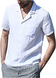 waotier Camisas de Solapa de Lino de Manga Corta Lisa/sólida Retro para Hombre Vintage Bolsillo Izquierdo 1/4 Botones Cami...